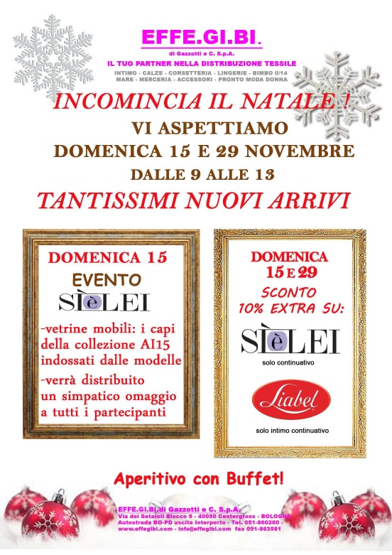 Special openings Sunday 15 and 29 November 2015, store of Bologna