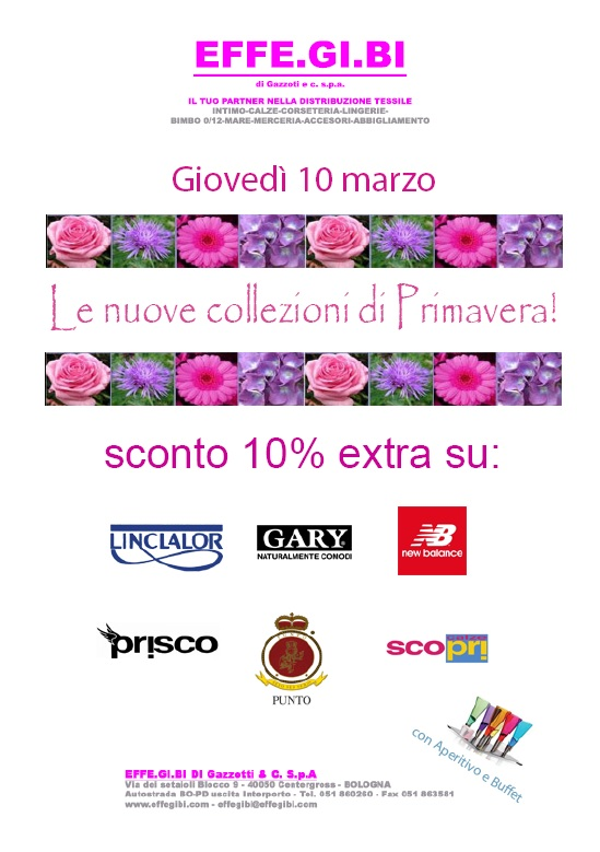 Thursday, March 10, 2016 - Presentation of the new collection and Great promotions