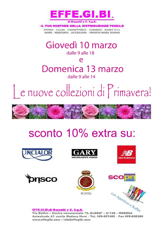 Sunday 13th March, special opening uor store in Modena, whit many deals!